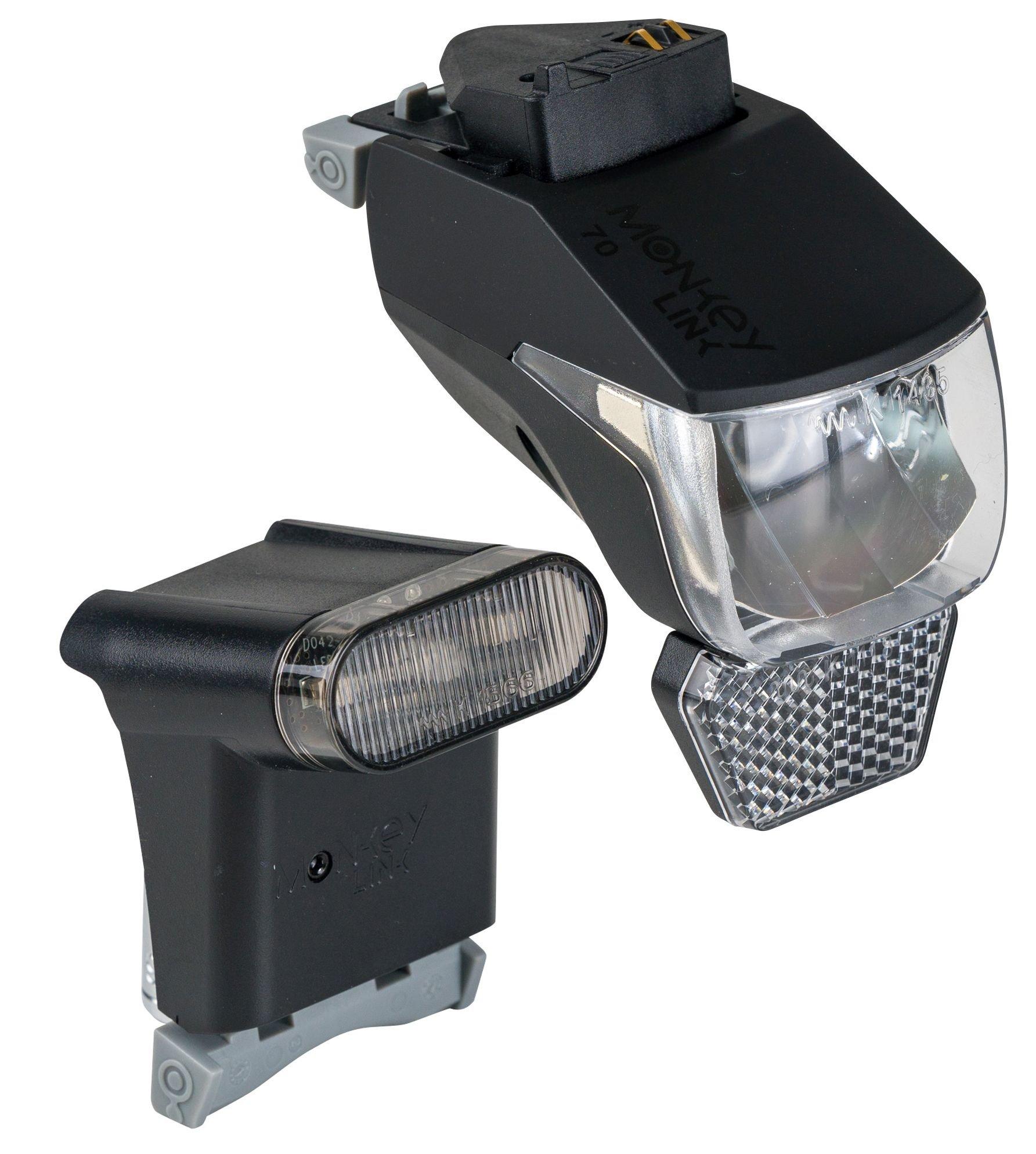 E-Bikes/Beleuchtung: MonkeyLink  Beleuchtungsset E-Bike ML-Light 100 Lux Set Connect S (Stromzufuhr über E-Bike Akku)