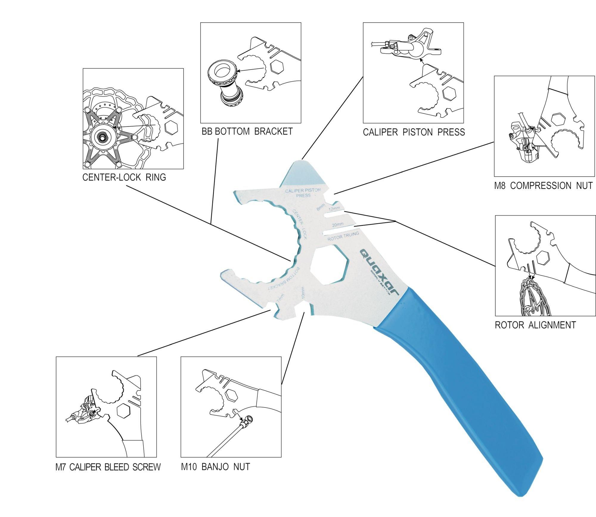 montagewerkzeug: Quaxar  Werkzeug Scheibenbrems Multitool