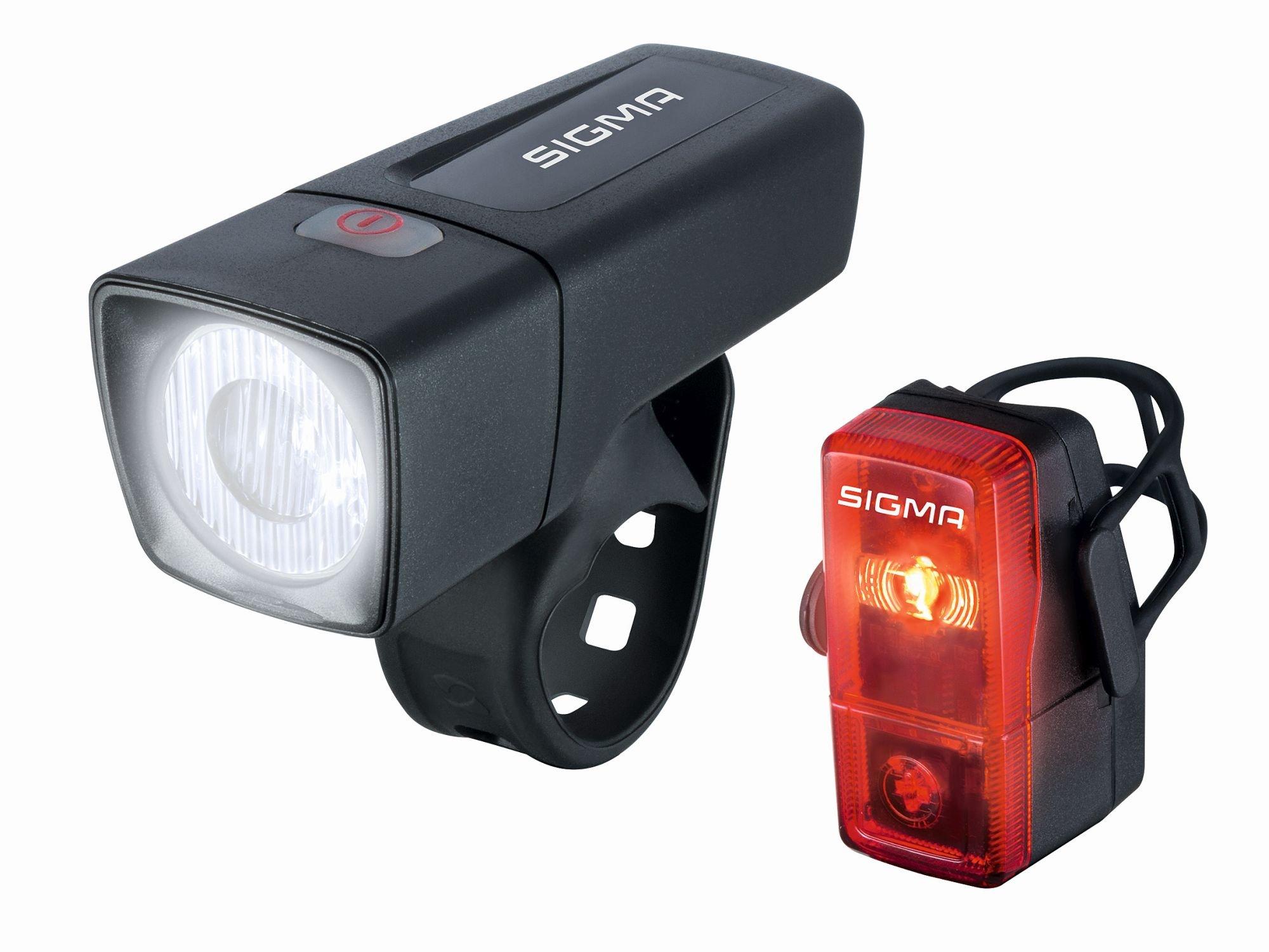 batterielicht vorne/Beleuchtung: Sigma  Beleuchtungsset Aura 25 + Cubic