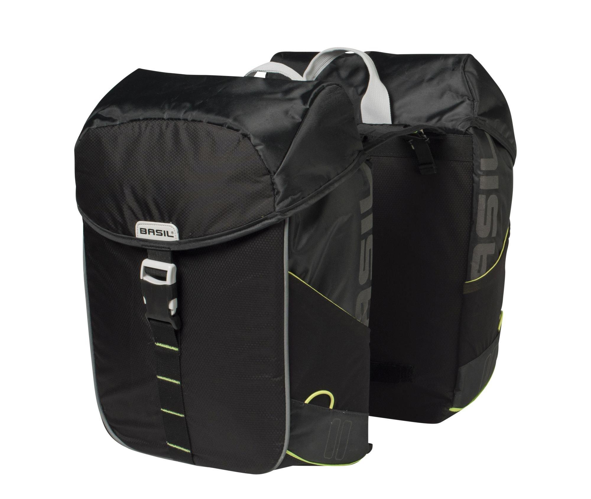 Basil Doppelpacktasche 34L black lime Miles Double Bag