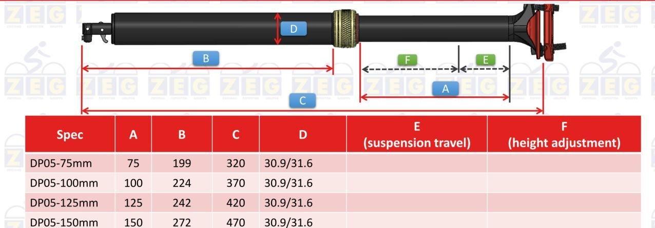 /Sattel: Zecure  Sattelstütze Dropperpost DP05-125mm 349