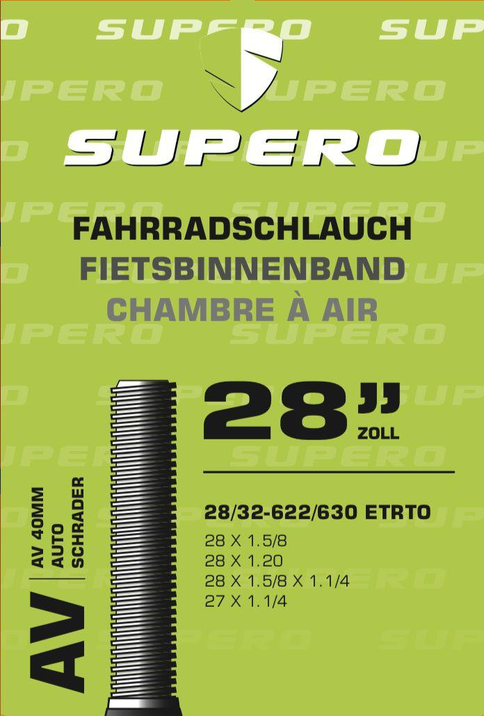 """Supero Fahrradschlauch 28"""" Schrader40 28/32-622/630"""
