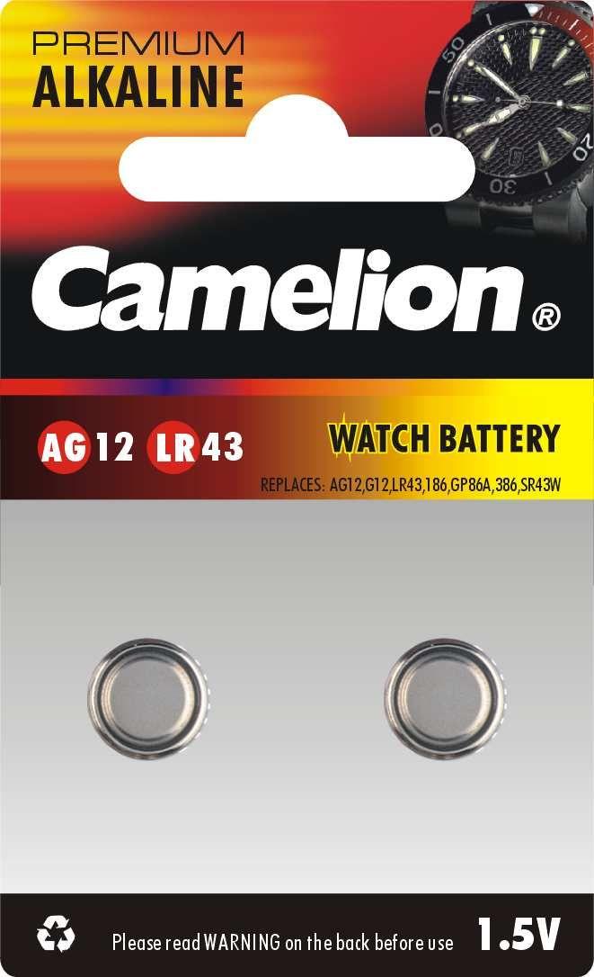 zubehör computer & pulsuhren: Camelion  AG 12  LR43 Knopfzelle 2Stück
